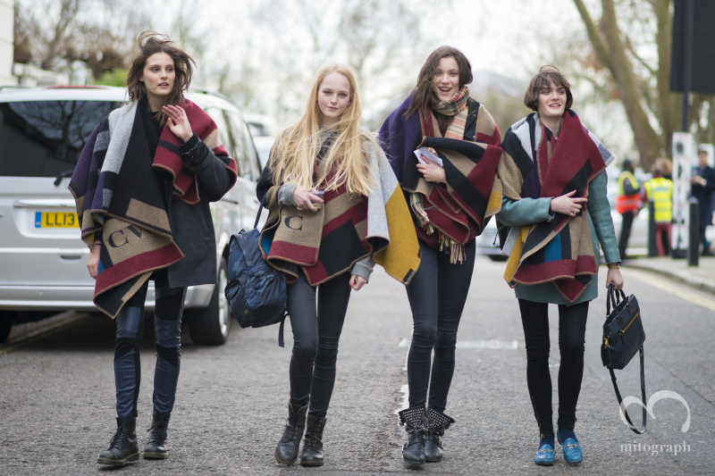 Burberry Prorsum 2014 Fall Winter Models Charlotte Wiggins,Jean Campbell,Matilda Lowther,Sam Rollinson leaves the Show at London Fashion Week LFW