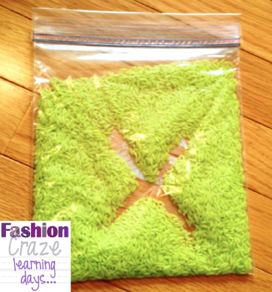 rice, gel sensory bags