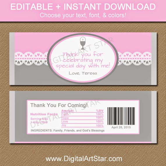 Editable First Communion candy bar wrappers.  Choose your text, font, and colors!