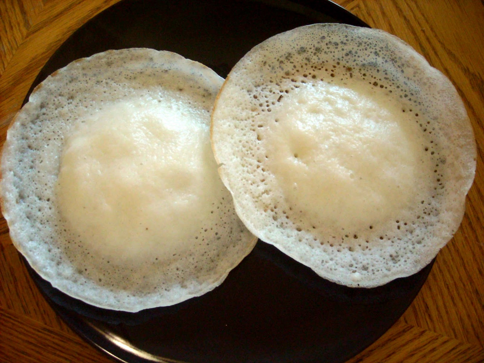 Manju 39 s eating delights paal appam coconut milk hoppers for Appam and chicken stew kerala cuisine