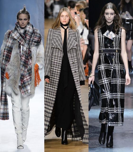 Tendências outono-inverno 2015-2016 tecido tartan e quadrados