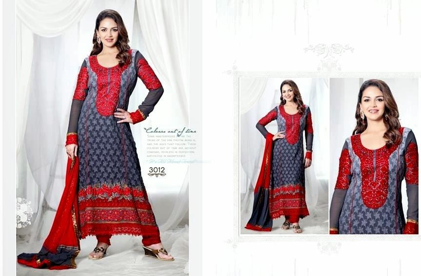 EshaDeolSalwarSuits2013 2014 wwwfashionhuntworldblogspotcom 002 - Wonderful Color Combination Esha Deol Suits