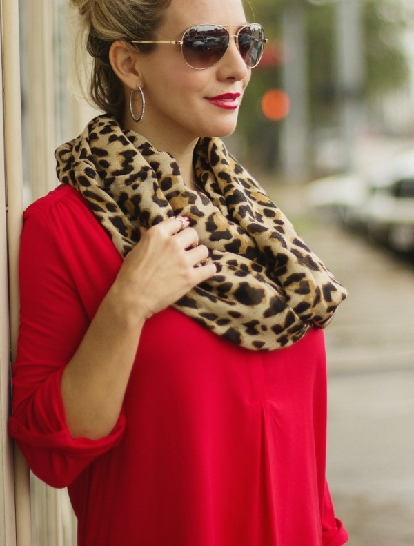 Fall Fashion - tunic and leggings perfect casual combo - red + leopard
