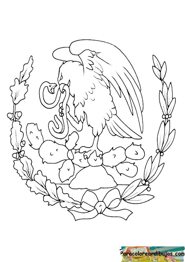 escudo nacional de mexico para colorear