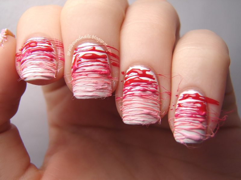 Spun Sugar Nails Are Really Easy. They Are A Bit Messy But The Wispy  Strings Make It Easy To Clean Up. I Started With A Base Of Two Coats L.A.  Colors White.