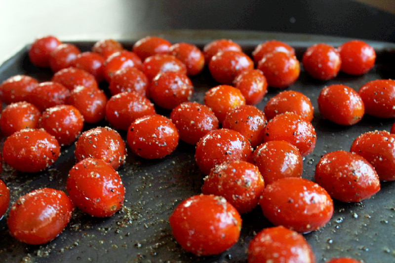 ... tomatoes, coated in olive oil and seasonings. Roast the tomatoes until
