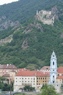 Looking across the Danube at the Blue Church and it's tower in Durnstein, Austria