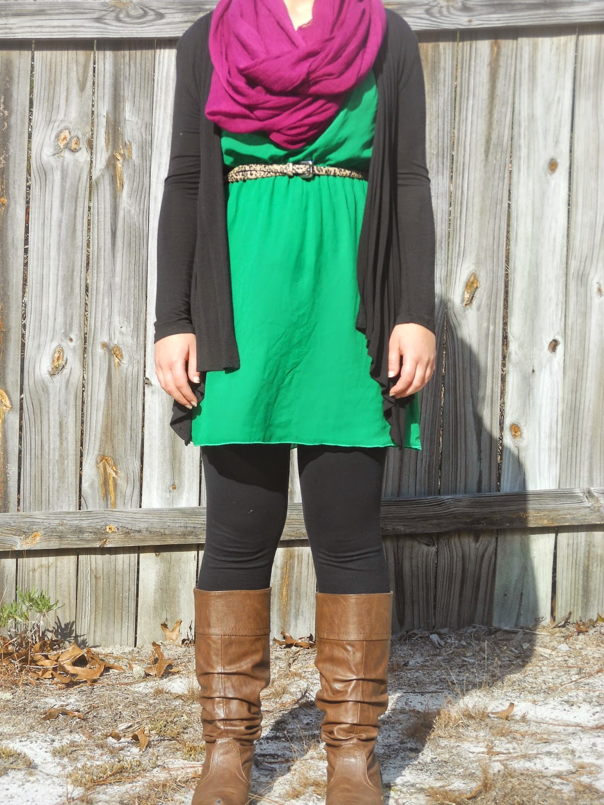 How to Wear a Dress in Winter || 01. green dress, purple infinity scarf, leopard belt, black leggings, brown boots, black cardigan.