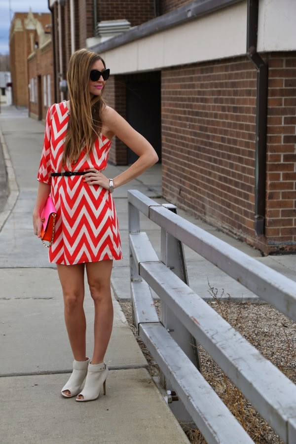 win a one shoulder coral chevron dress