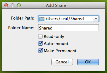 新增 VirtualBox 的 Shared Folders