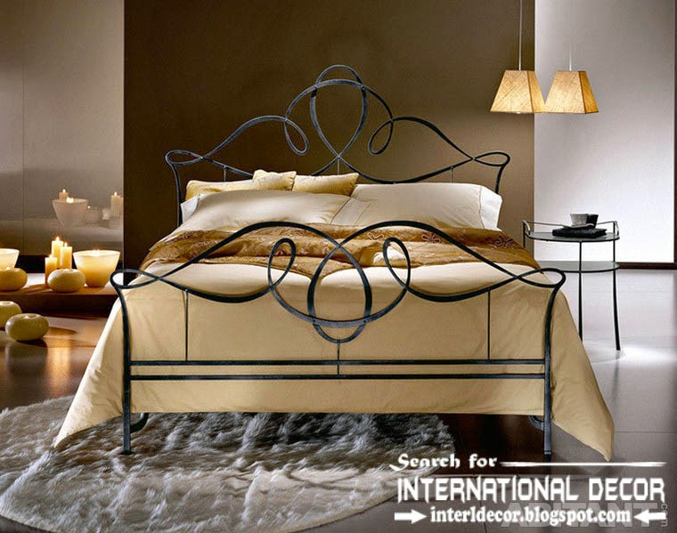 stylish Italian wrought iron beds and headboards 2015, black wrought iron bed