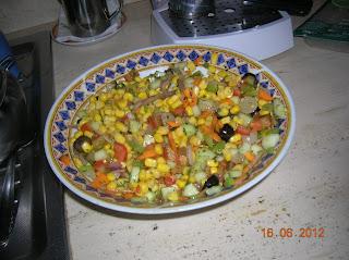 cipolla rossa di tropea ripiena e insalata di mais