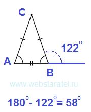Внешний угол при вершине. Равнобедренный треугольник. Математика для блондинок.