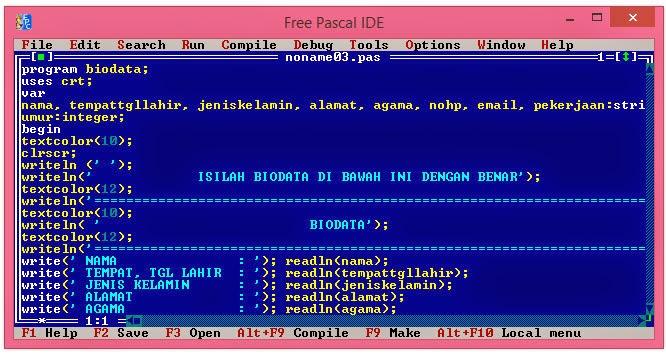 Cara Membuat Progam Biodata Menggunakan Pascal