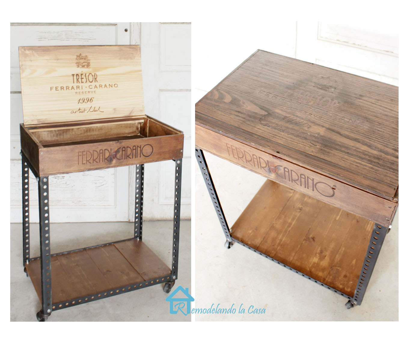 Tresr Ferrari Carano wooden wine crate used as side table