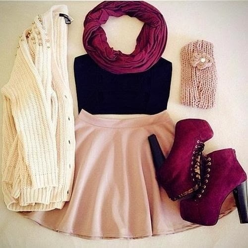 Purple scarf, white cardigan, black blouse, pink skirt and purple high heel shoes