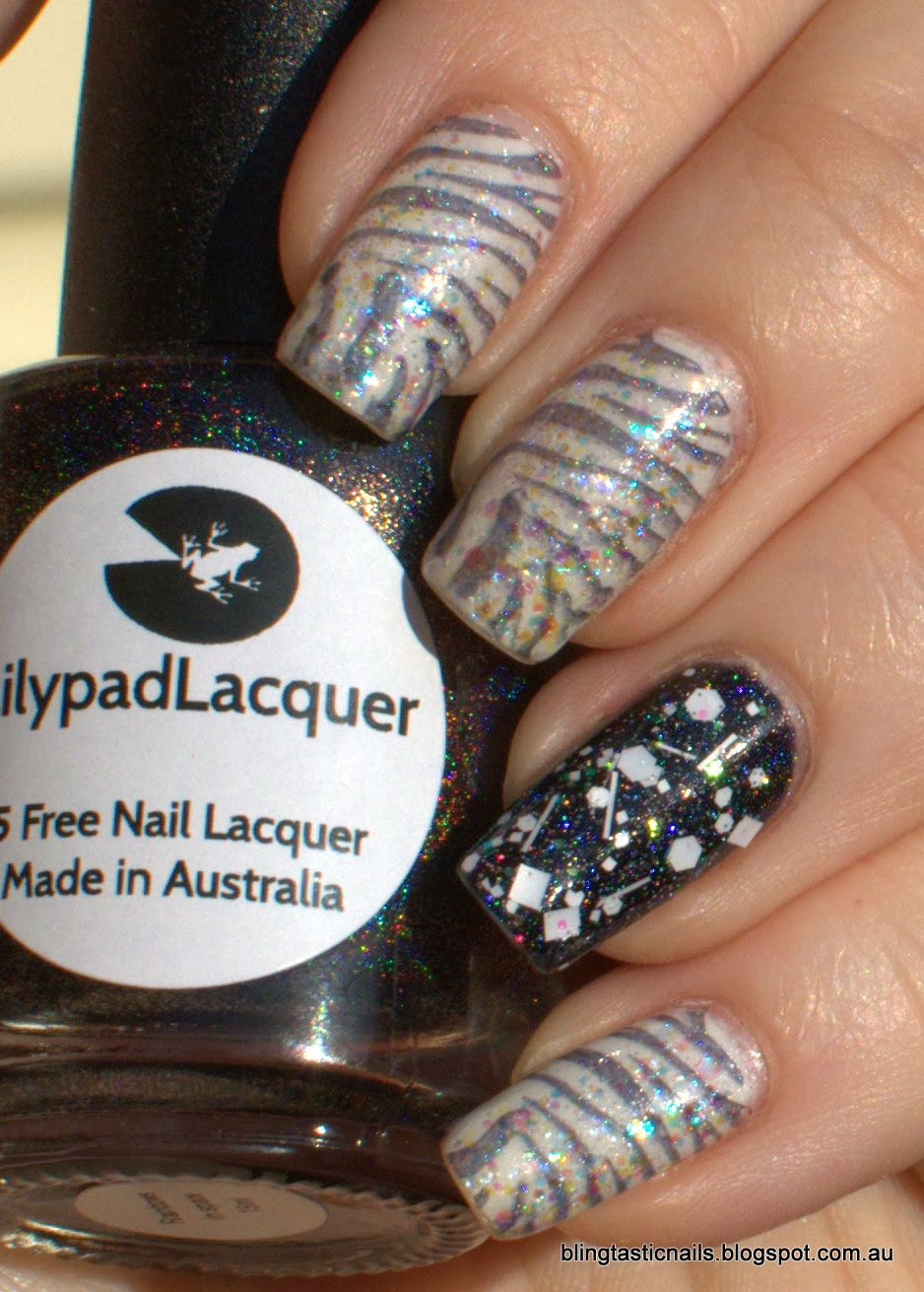 China Glaze Dandy Lyin' Around, China Glaze Snowglobe and Lilypad Lacquer Rainbows in Space