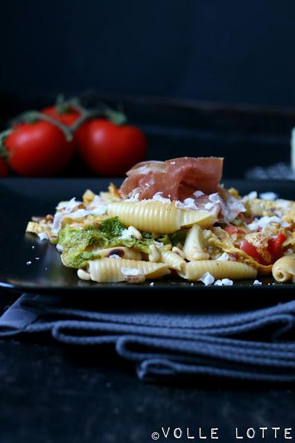 Nudeln, Schinken, Parmesan, kochen, Wirsing, schnell, einfach, lecker