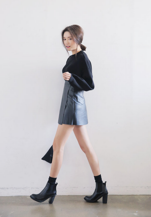 Wrap Style Faux Leather Skirt