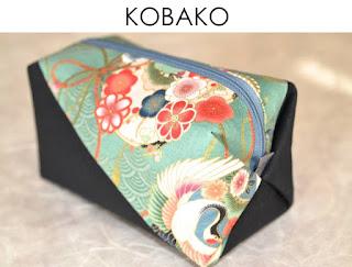 Kosmetiktasche Kobako aus japanischen Stoffen von Noriko handmade, handgemacht, Unikat, Einzelstück, Schminktäschchen