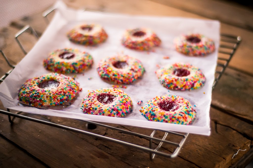 Rainbow Thumbprint Cookies