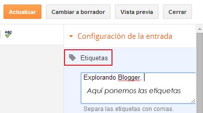 Seccion de etiquetas en el editor de Blogger