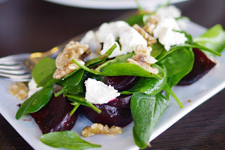 Roasted beetroot salad with Red Hill soft cheese