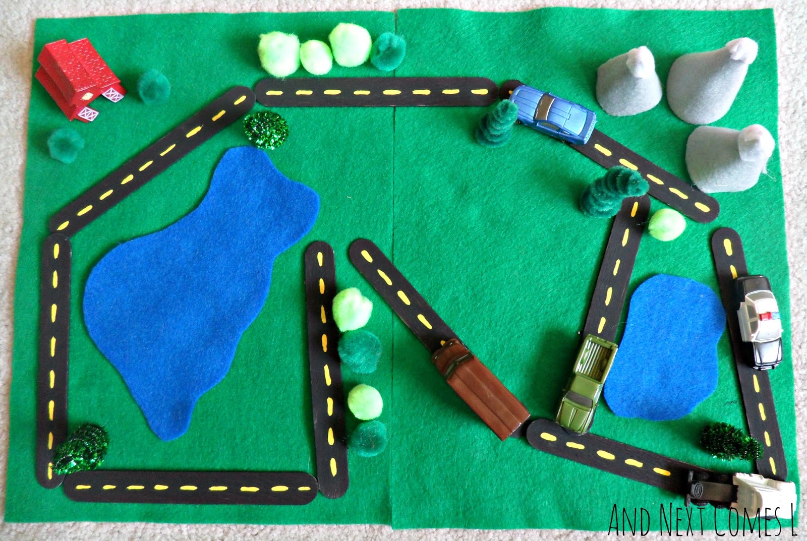 Car themed busy bag activity for kids from And Next Comes L