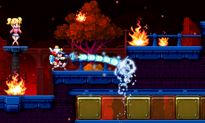 Screenshot of 3DS game Mighty Switch Force 2, with Patricia Wagon spraying water in a burning city.
