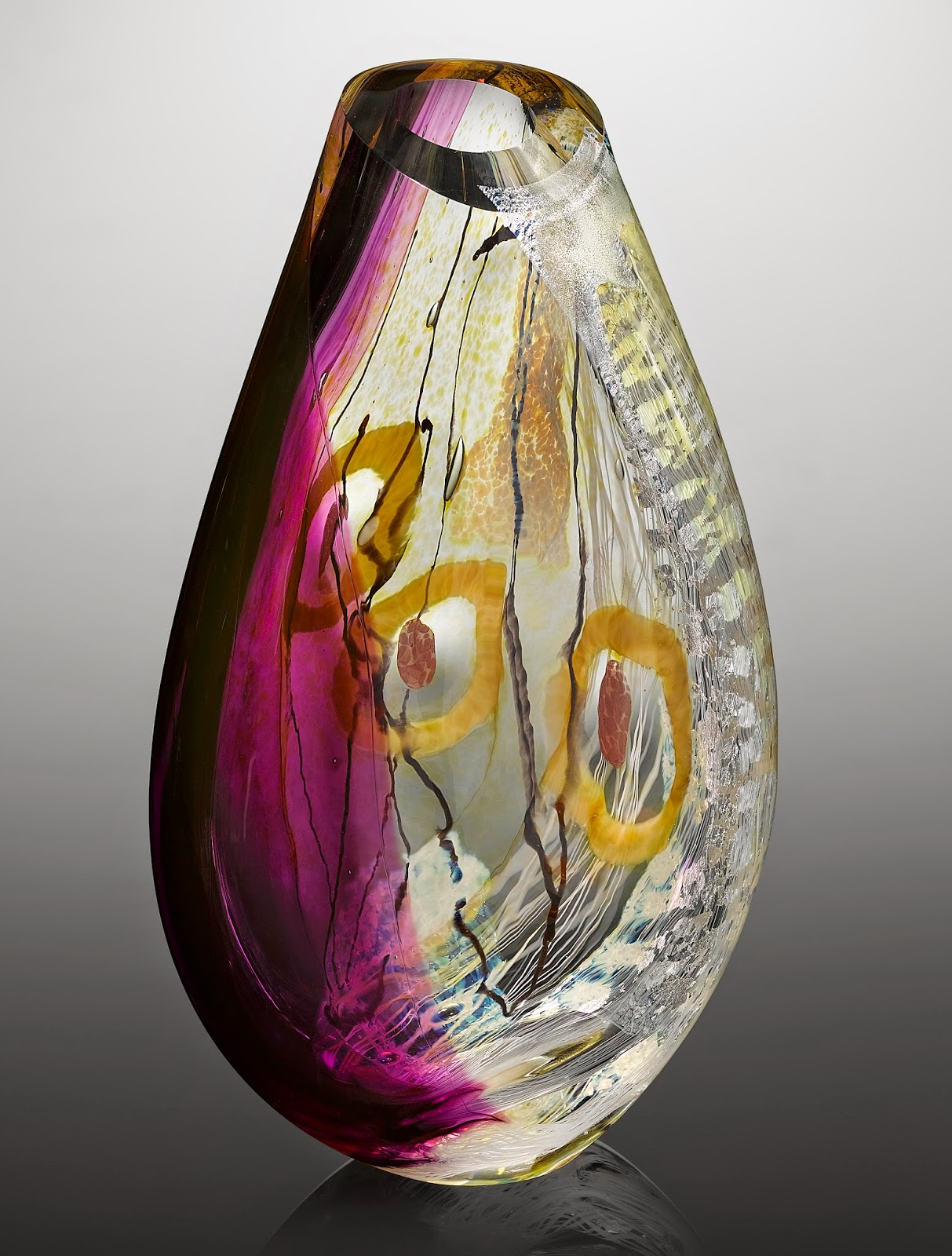 one of a kind contemporary art glass sculpture made in USA, Pantone color