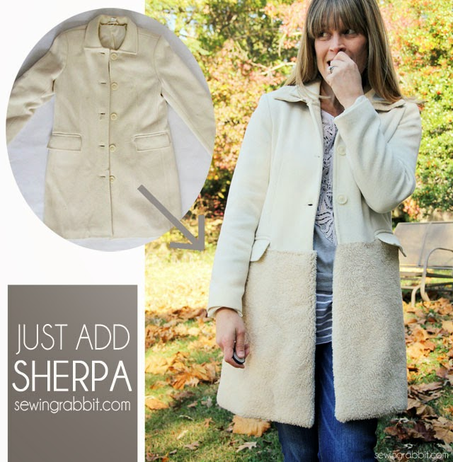 Add Some Sherpa - Easy Jacket refashion DIY  ||  sewingrabbit.com