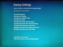 Advance startup settings Windows 8