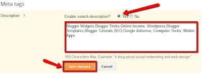 Add Meta blog description in blogger setting
