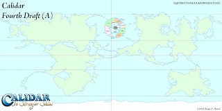 The World of Calidar, Fourth Draft World Map, Equirectangular Projection