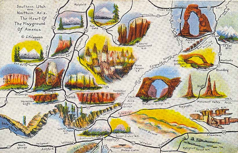 POSTCARDY the postcard explorer Map Southern Utah and Northern