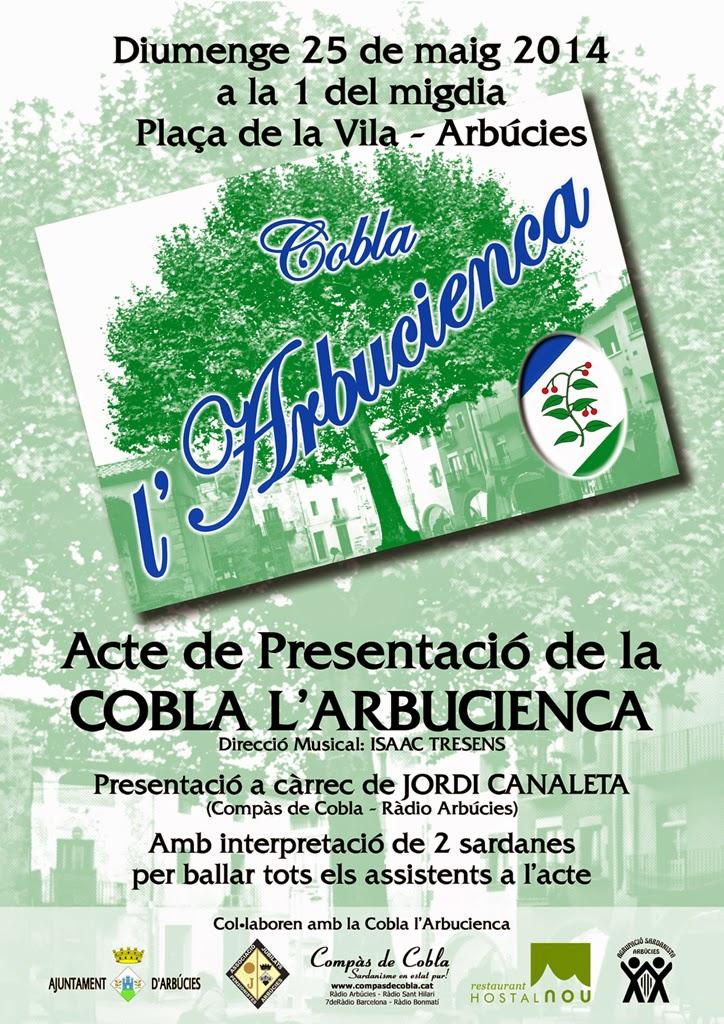 Cartell presentació Cobla l'Arbucienca 25/05/2014