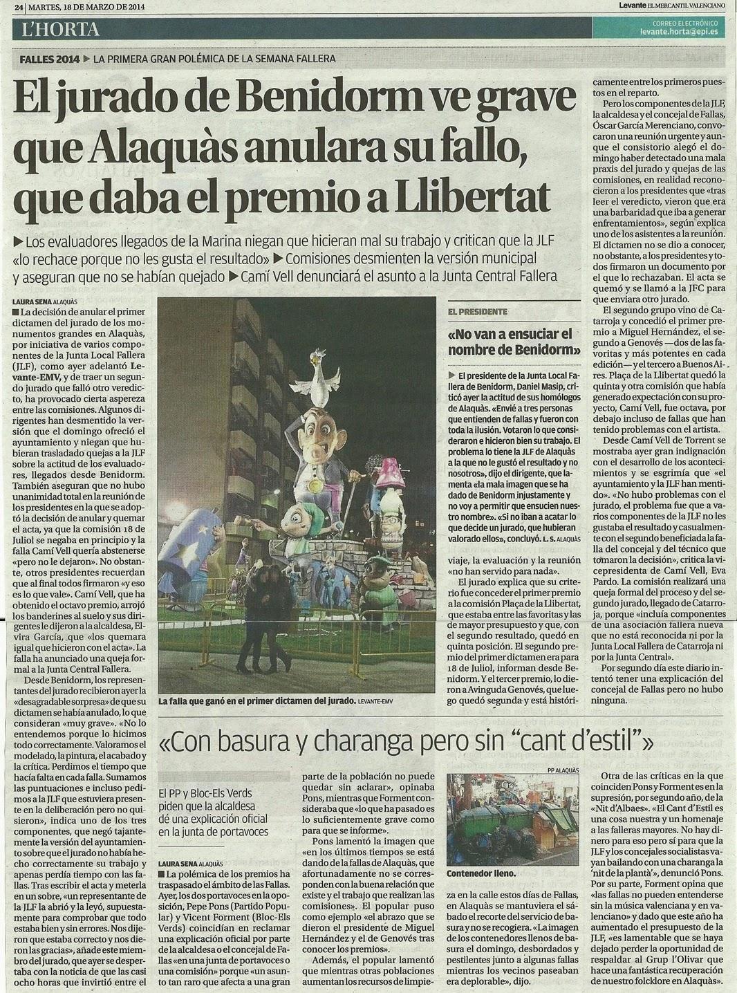 Premios con polemica en las fallas de alaqu s dos jurados dos primeros premios - Trabajo en alaquas ...