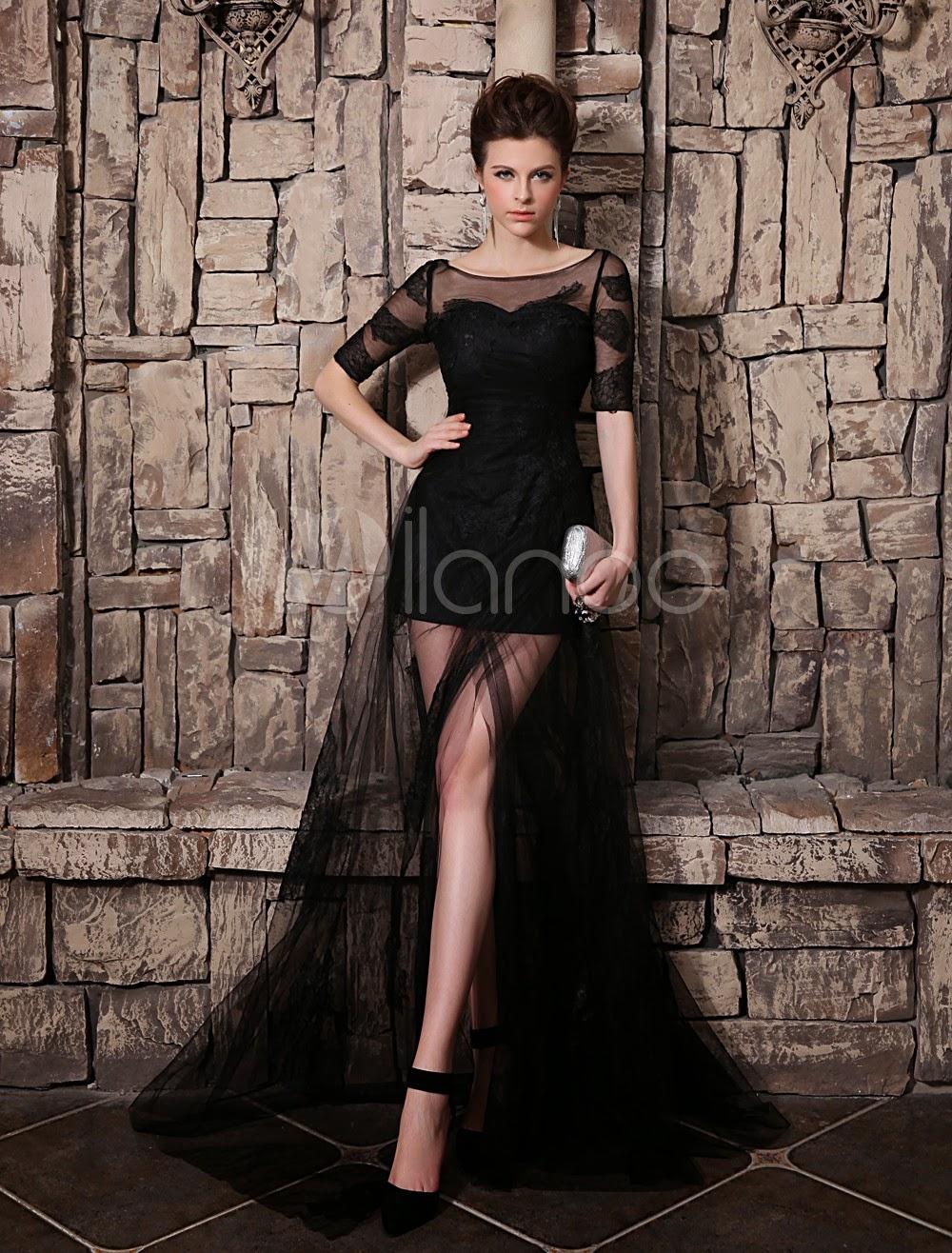 Robe exquise de soirée noire A-ligne encolure dégagée fendue et traîne