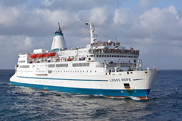 MV Logos Hope sailing into Kuching Sarawak