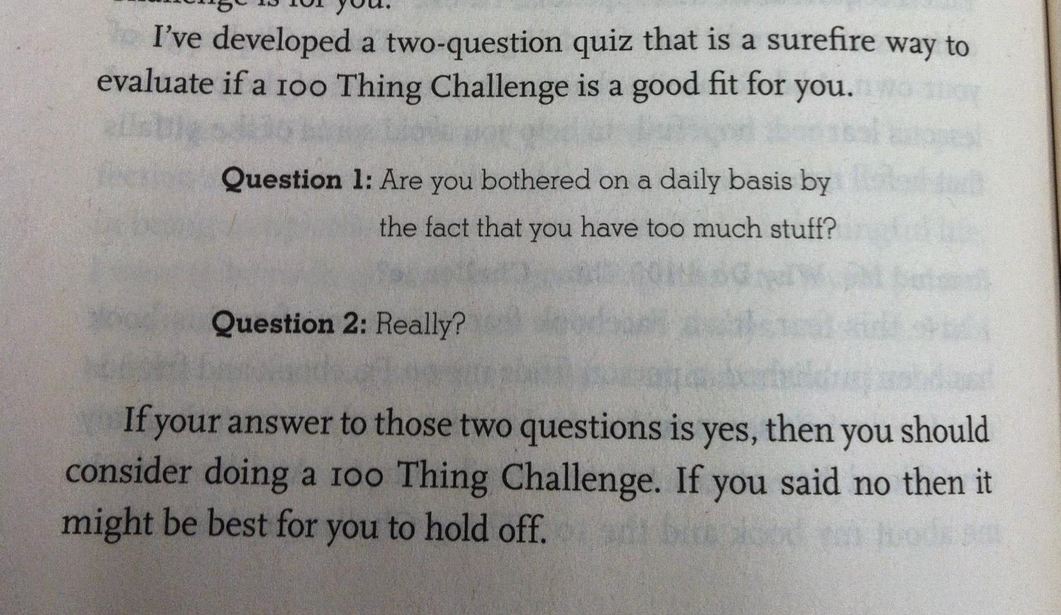 questions on stuff