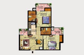 Livingston :: Floor Plans,Block G:-2 BHK (Galaxy)3 Bedroom, 2 Toilet, Kitchen, Dining, Drawing, 3 Balconies Super Area - 870 Sq Ft