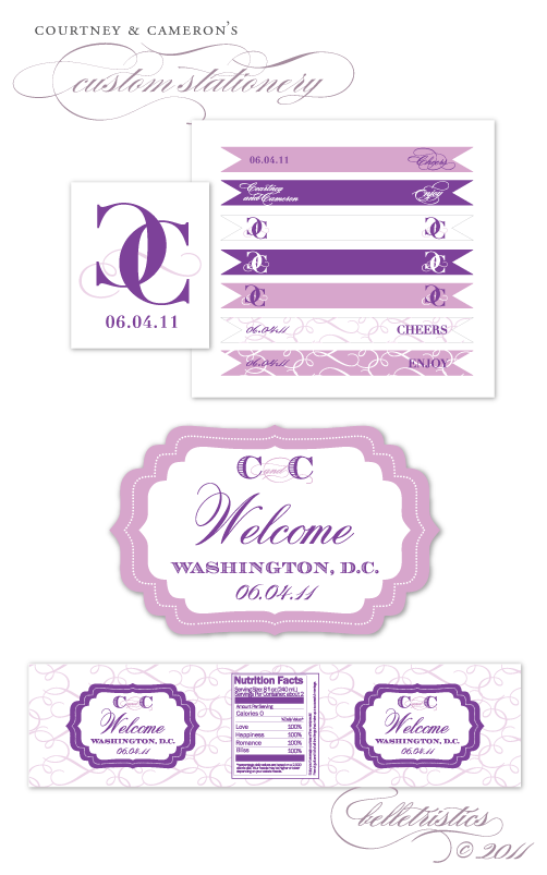 custom purple monogram flourish calligraphy swirls drink cupcake flags water bottle label welcome label