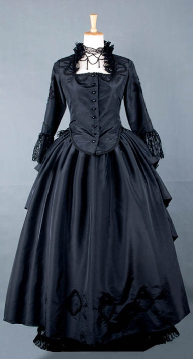 Black Lace Victorian Bustle Dress