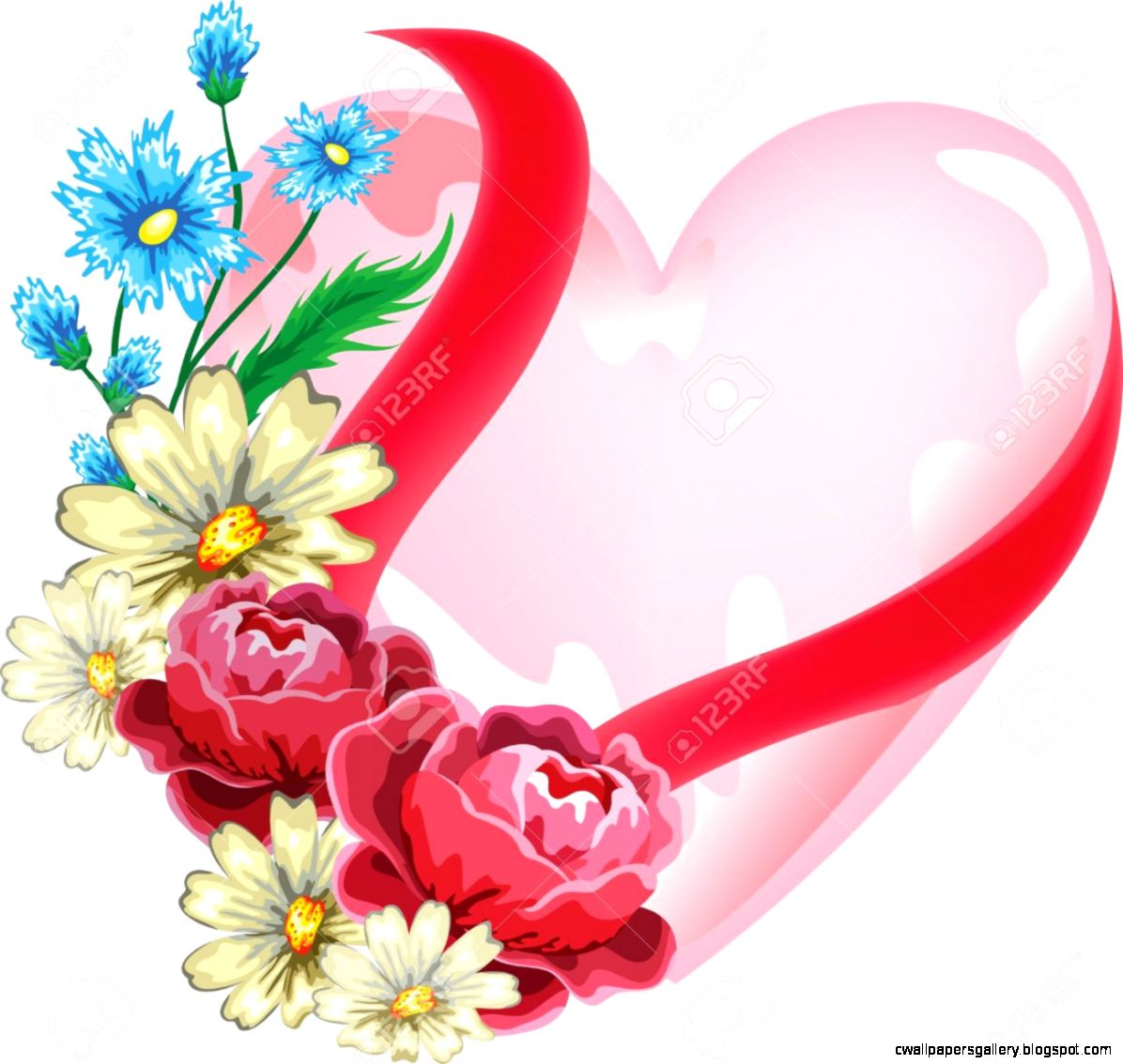 Heart With Flowers Royalty Free Cliparts Vectors And Stock