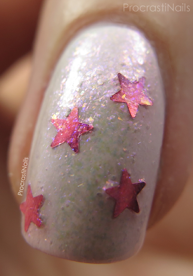 Macro of Nicole by OPI She's Lily Something over OPI My Boyfriend Scales Walls