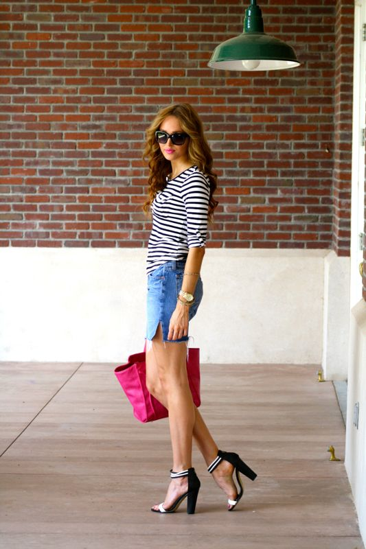 Golden Divine Blog- J Brand Denim Cut Offs and Stripes | Casual Friday
