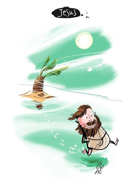 LACHHAFT Cartoon Jesus einsame Insel übers Wasser gehen laufen entkommen Cartoons Witze witzig witzige lustige Bildwitze Bilderwitze Comic Zeichnungen lustig Karikatur Karikaturen Illustrationen Michael Mantel Spaß Humor