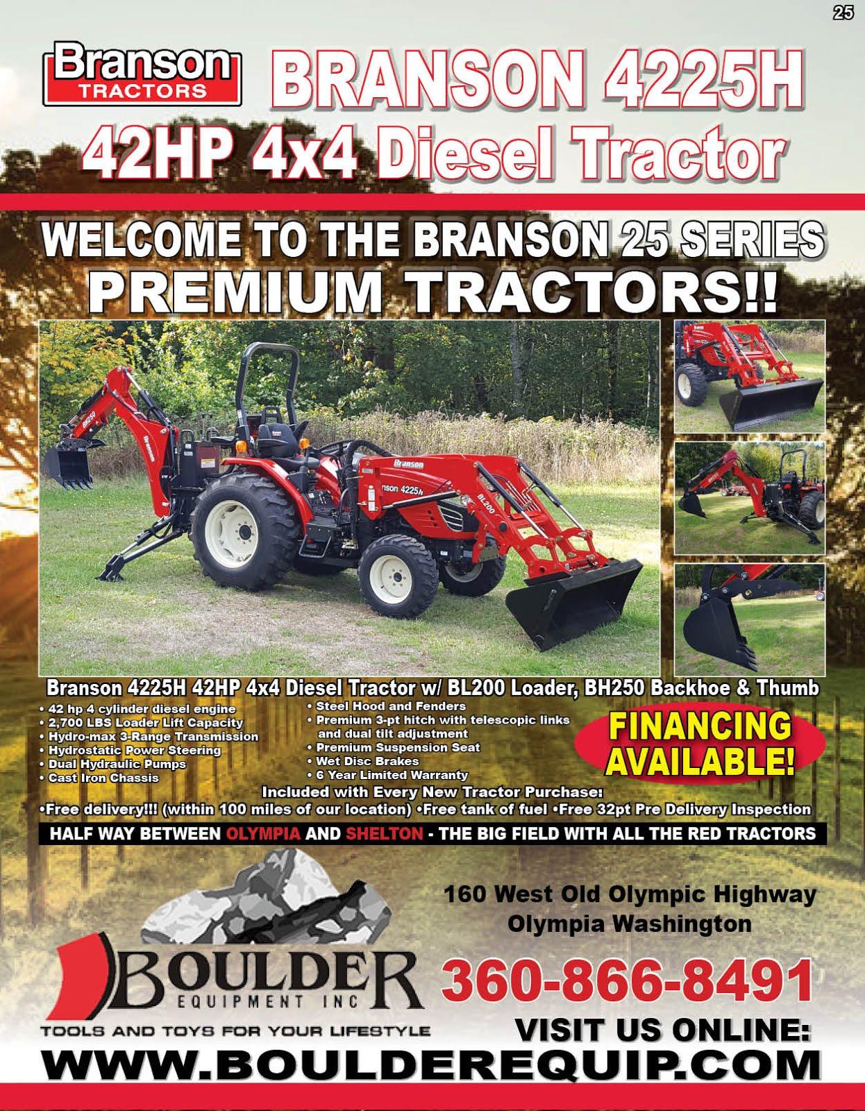 Boulder Equipment Has the New Branson 25 Series Premium Diesel Tractors