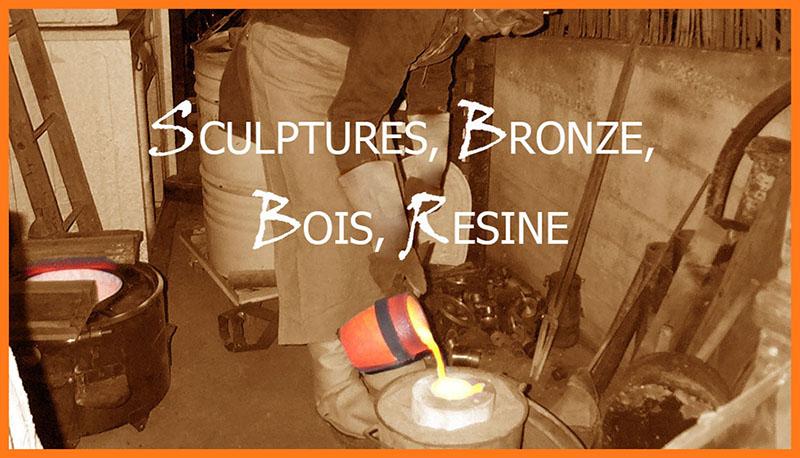 Sculptures, bronze, bois, résine