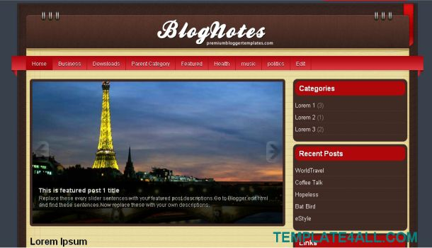 BlogNotes Red Brown Blogger Template